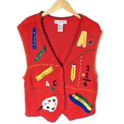 Bright Red Teacher Tacky Ugly Sweater Vest - Plus Size