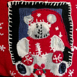 Deformed Teddy Bear Scrapbook Tacky Ugly Christmas Sweater