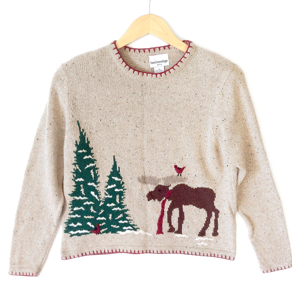 Ugly moose sweater english sweater vest for Over the top ugly christmas sweaters
