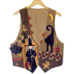 Puffy Face Cat & Puffy Bat Tacky Ugly Halloween Vest