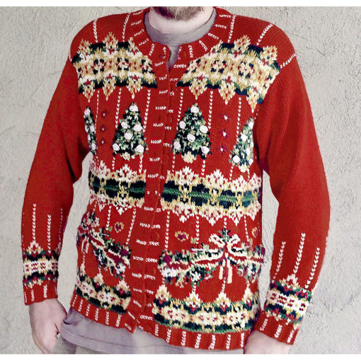 Textured Trees Red Chunky Knit Tacky Ugly Christmas Sweater - The Ugly Sweate...