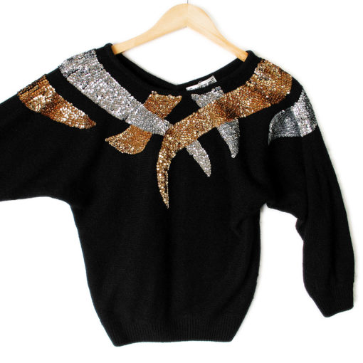 Vintage 80s v back batwing tacky ugly gem sweater the ugly sweater