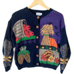 Vintage 90s Turkey and Fall Scenes Thanksgiving Ugly Sweater