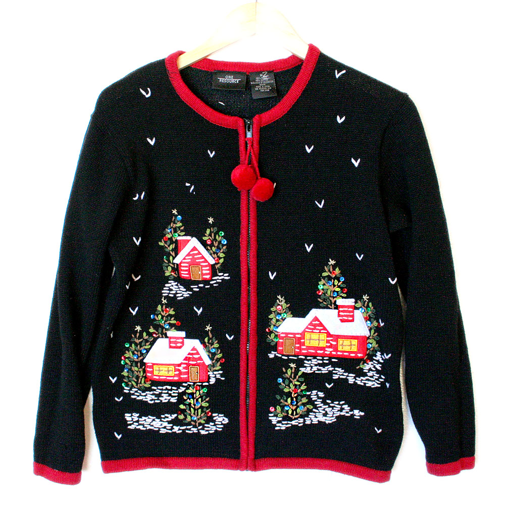 Christmas cabins at night tacky ugly holiday sweater the for Fishing ugly christmas sweater