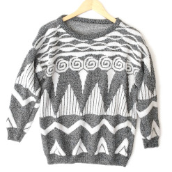 Peaks and Waves Vintage 80s Gray Geometric Ugly Cosby Sweater