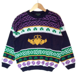Vintage 80s Emerald Isle Claddagh St Patricks Day Ugly Ski Sweater