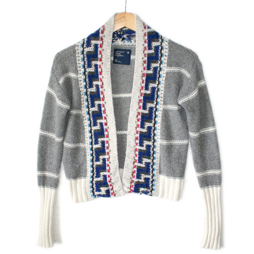 Aztec Tribal Cropped Open Cardigan Shrug Ugly Sweater
