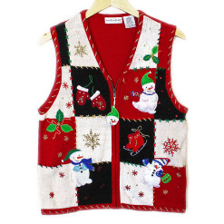 Snowman, Ice Skates and Mittens Tacky Ugly Christmas Vest