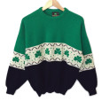 Vintage 80s Emerald Isle Shamrock St Patricks Day Ugly Sweater