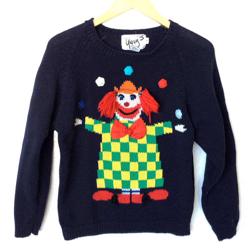 Creepy Clown Vintage 80s Tacky Ugly Sweater - The Ugly ...