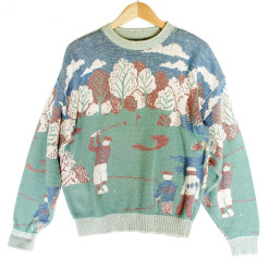 Faded Look Cotton Golf Scene Tacky Ugly Sweater
