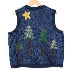 Not Very Manly Lumberjack Quilted Denim Ugly Vest