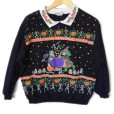 Witch Kitty and Skeleton Dinner Party Vintage 80s Tacky Ugly Halloween Sweatshirt