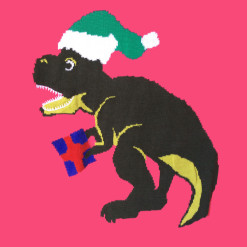 Alex Stevens Dinosaur Christmas T Rex Ugly Holiday Sweater - Pink