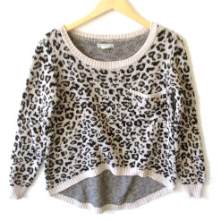 Billabong Leopard Print Hi-Lo Tacky Ugly Sweater