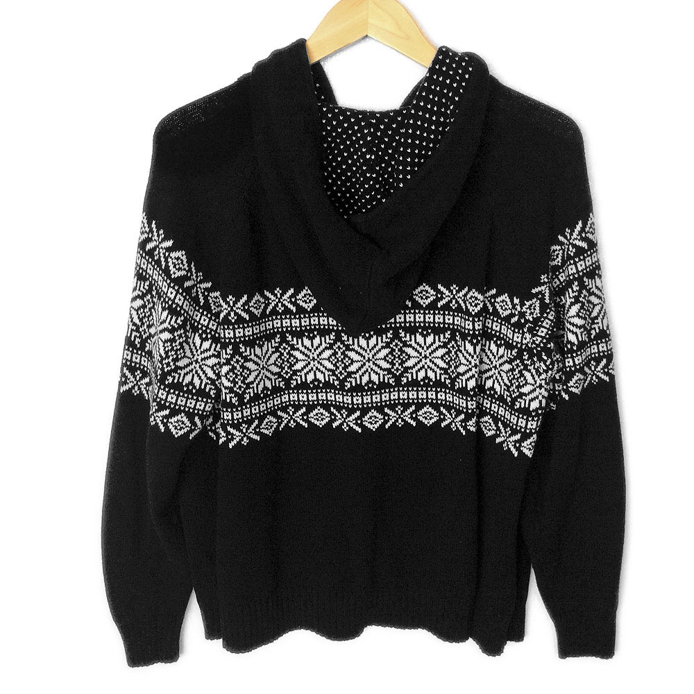 Black Snowflake Hoodie Ugly Sweater The Ugly Sweater Shop