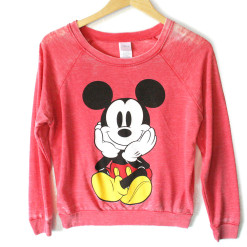 Disney Mickey Mouse Front Back Distressed Red Ugly Sweatshirt Style Shirt
