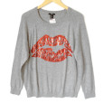 H&M Sequin Lips Gray Tacky Ugly Sweater
