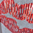 H&M Sequin Lips Gray Tacky Ugly Sweater 2