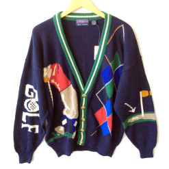 Hathaway Mens Tacky Ugly Cardigan Golf Sweater