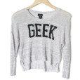 Thin Lightweight GEEK Hi-Lo Cropped Ugly Sweater