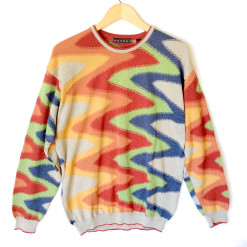 Tundra Trippy Rainbow Swirl Ugly Golf Sweater
