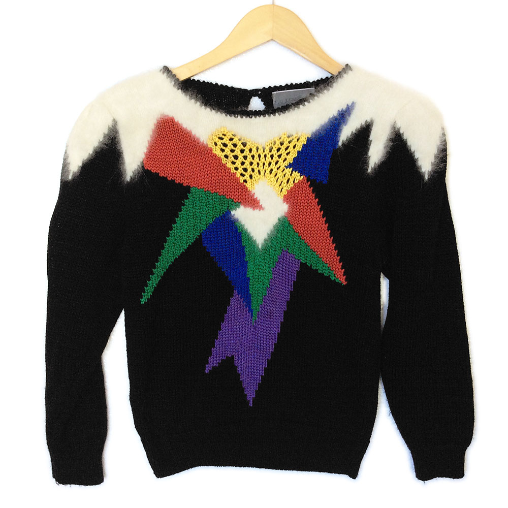 Vintage 80s Fuzzy Angora Shoulders Tacky Ugly Sweater ...