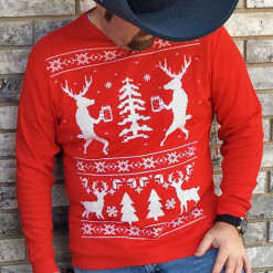 Drunk Reindeer Ugly Christmas Sweater Style Thermal Shirt