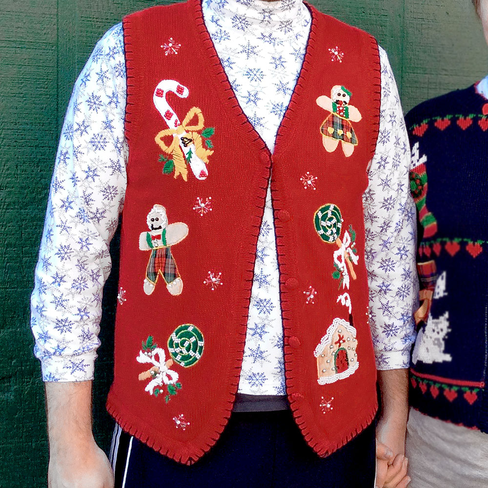 Holiday Sweater Vest Men - Gray Cardigan Sweater