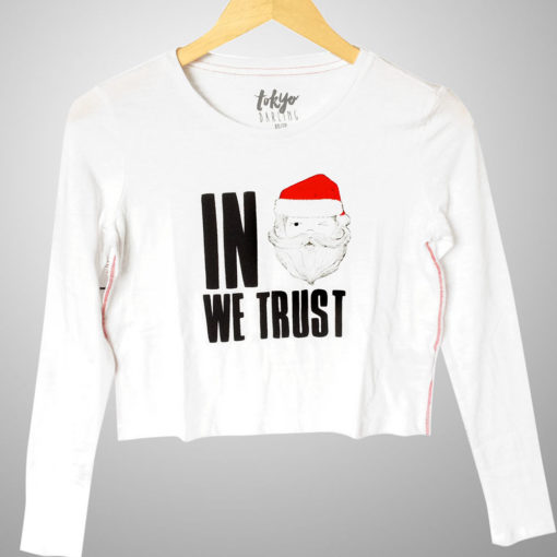In Santa We Trust Ugly Christmas Crop Top – White