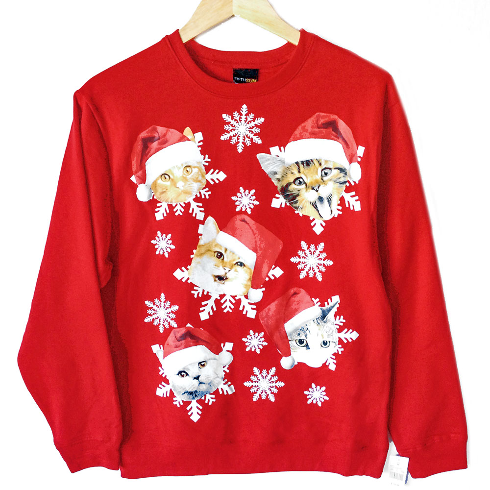 Ugly christmas sweater with cats