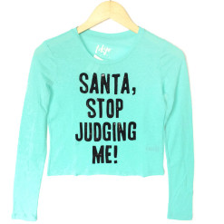 Santa Stop Judging Me Ugly Christmas Sequin Crop Top - Turquoise