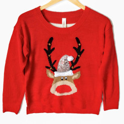 Zazzy Jingle Bell Rudolph Reindeer Ugly Christmas Sweater