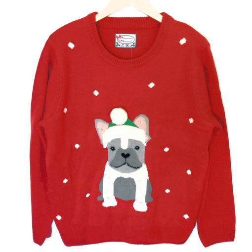 French Bulldog Light Up Tacky Ugly Christmas Sweater The