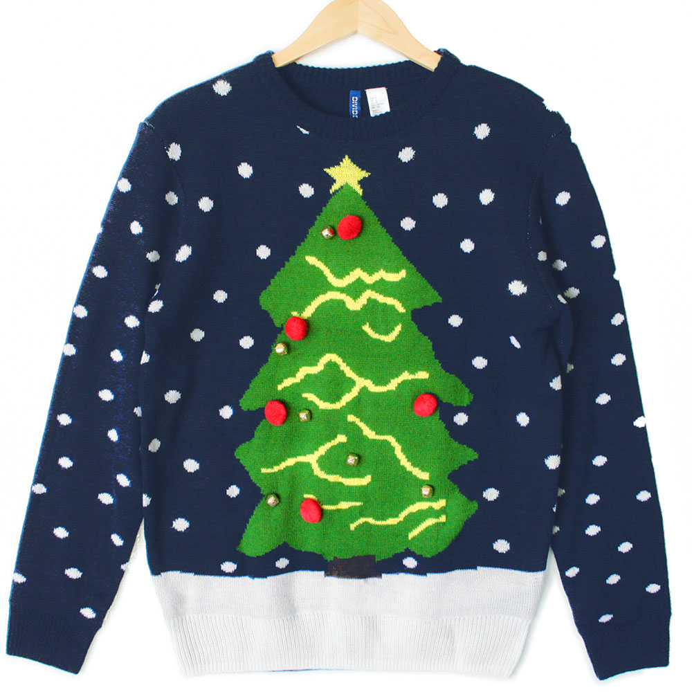 Product Description Long sleeve crew neck hi-low Christmas tree pullover with lights.