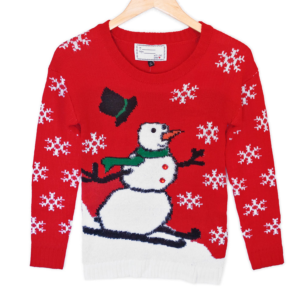 Snowman tacky ugly christmas sweater plays music the ugly sweater