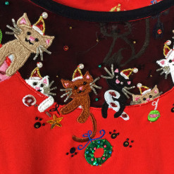 Jack B Quick Kitty Cats In Your Cleavage Ugly Christmas Shirt