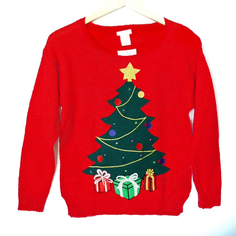 Tacky christmas sweater with lights