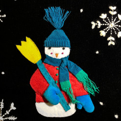 Snowman With A Broom Tacky Ugly Christmas Sweater