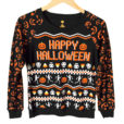 Happy Halloween Skeletons and Candy Corn Lightweight Ugly Sweatshirt