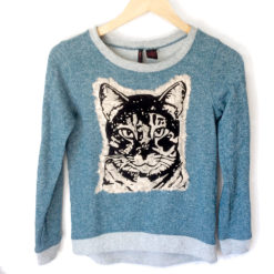 Burnout Lace Kitty Tacky Ugly Sweatshirt Shirt for Cat Lady