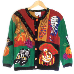 Vintage 90s Pilgrims Indians and Turkey Tacky Ugly Thanksgiving Sweater