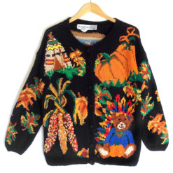 Vintage 90s Teddy Bear Indian and TV Tacky Ugly Thanksgiving Sweater