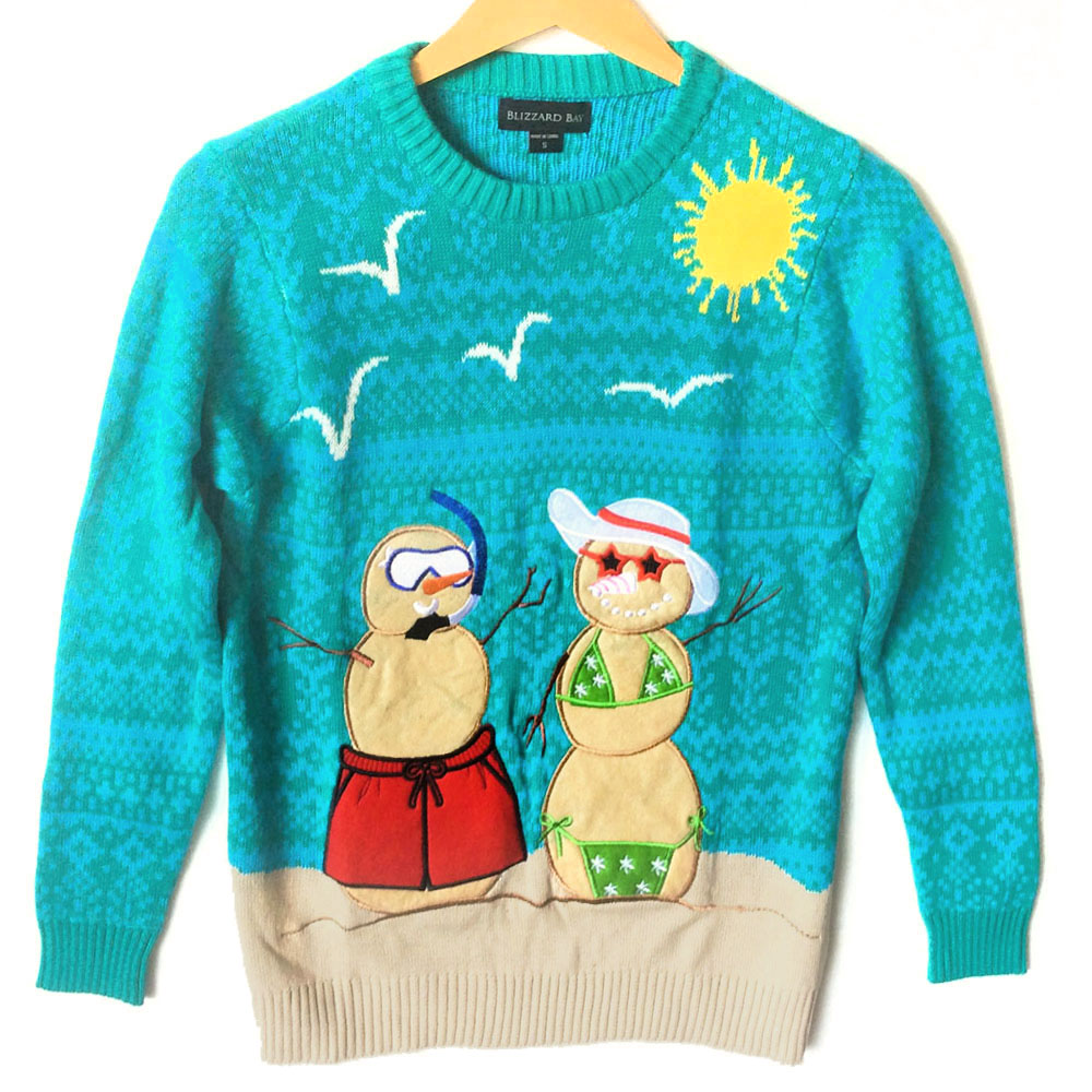 Beach holiday tacky ugly christmas sweater the ugly for Fishing ugly christmas sweater