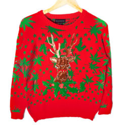 Blitzen's Blazin' 420 Tacky Ugly Christmas Sweater