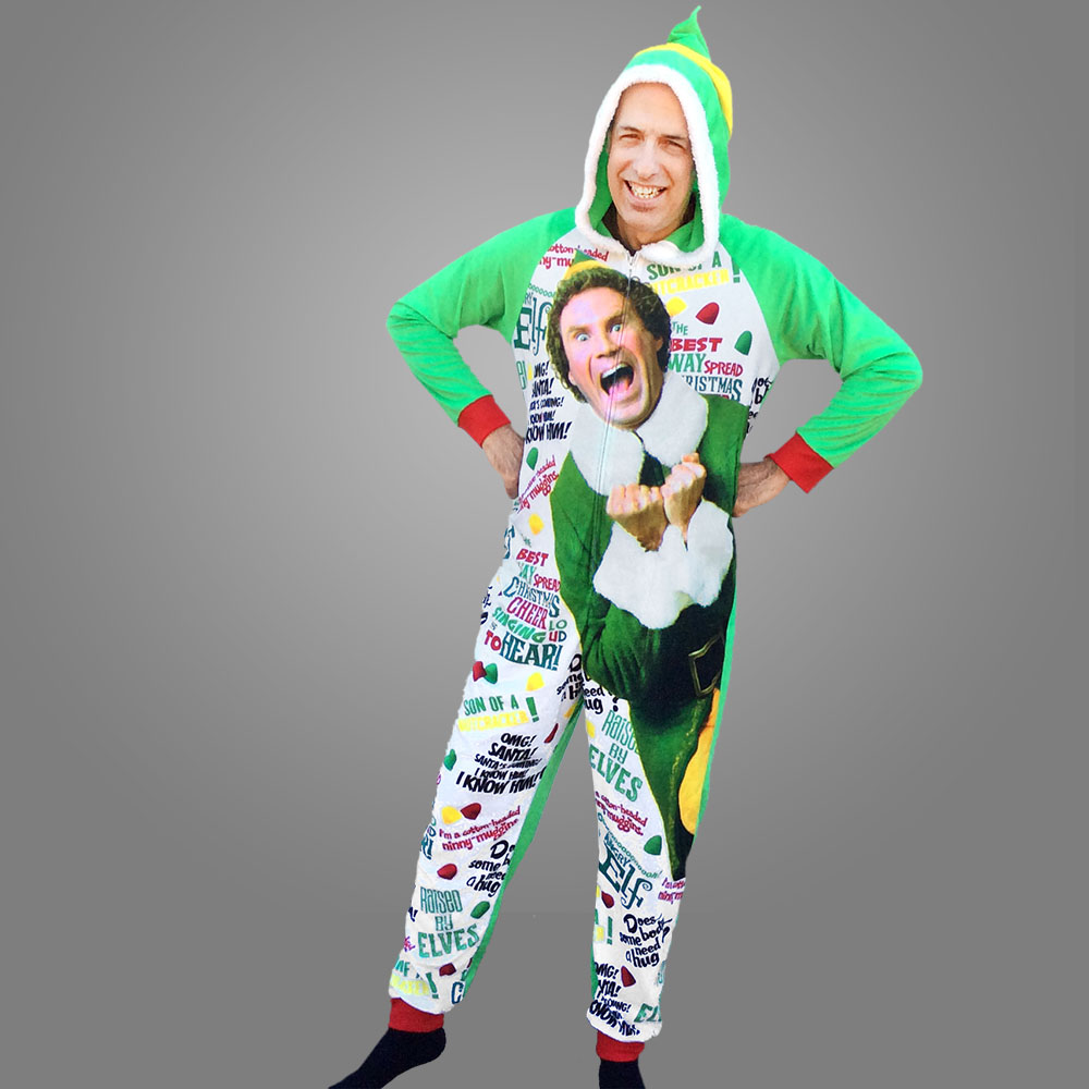 Buddy The Elf Graphic Union Suit One-Piece Onesie Pajamas ...