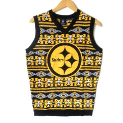 NFL Licensed Pittsburgh Steelers Tacky Ugly Christmas Sweater Vest