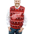 NHL Licensed Detroit Redwings Tacky Ugly Christmas Sweater Vest