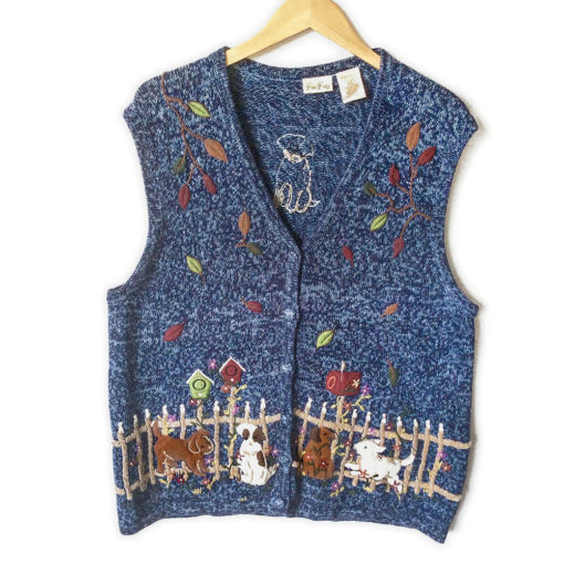 puppies-playing-in-fall-leaves-tacky-ugly-sweater-vest