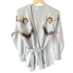Vintage 60s Belted Open Cardigan Autumn Tacky Ugly Sweater